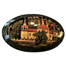 Russian Hand Painted Lacquer Wooden Cathedral Pin Exquisite