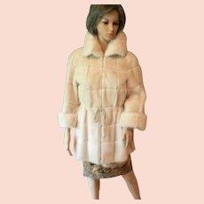 Elegant Womens Genuine Mink Fur Coat Ivory White  S / M