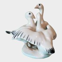 Royal Dux 1960-1978 Porcelain Three Geese Figurine Czech.