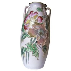 """Nippon Moriage Porcelain Vase Poppies / Peonies 12.5"""" Hand Painted Gold Trim"""