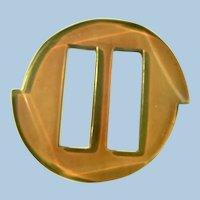 Vtg. Art Deco Apple Juice Bakelite Carved Belt Buckle / Sash / Scarf Slide
