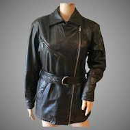 Wilsons Ladies Black Leather Cross Zipper Jacket / Coat Sz. XS  Very Sharp!