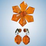 "1960's Vintage Large Orange Facetted Starburst Flower Pin & Dangle Bead Clip Earring Set ""West Germany"" Signed"