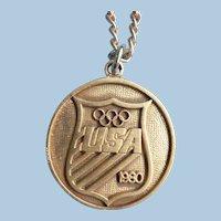 1980 XXII Moscow Olympic Olympiad USOC Contributor Pendant