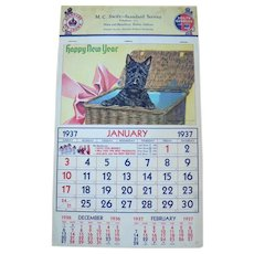 1937 12-month Calendar Illustrated & Signed Marguerite Kirmse Chromolithographs of Scottish Terriers & Other Dogs