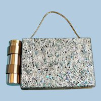 Vtg. 1950s Lucite & Gold Metal Compact Purse Mother of Pearl Confetti & Silver Rods MIB