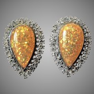 1950's Large Brilliant Glitter Fire Yellow Lucite & Rhinestone Tear Drop Earrings Clip-on