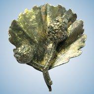 Vintage 1950's Sterling Silver Flora Danica Raspberry Pin by Danish Artist Orla Eggert