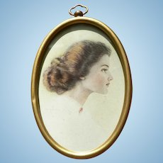 Vintage Edwardian Pulp Artist C. Warde Traver (1870-1945) Framed Portrait Lady Lithograph