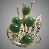 1960's Jade Flower & Gold Fill Giligree Pin Brooch