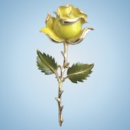 1960's Beautiful Enameled Yellow Rose Pin Brooch