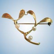 Vintage Italian 18K 18ct Gold Cultured Akoya Pearl & Vining Leaf Brooch Pin 6.7 grams