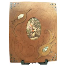 Early 1900's Folk Art Leather & Abalone Frame w. Tinted Photograph Woman / Man with Lute