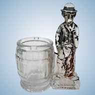 1915 Charlie Chaplin Glass Bank / Candy Container / Toothpick Holder