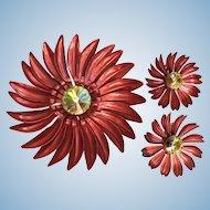 1960's Enamel Flower Power Pin w/ Matching Earrings Magenta Red & Rivoli Rhinestones