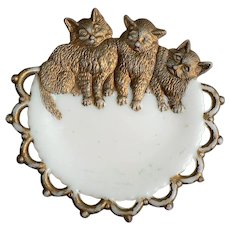 1900-1909 Westmoreland Three Kittens Cats Plate / Pin Tray