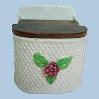 Circa 1920-1941 Hanging Ceramic Salt Box Made in Japan