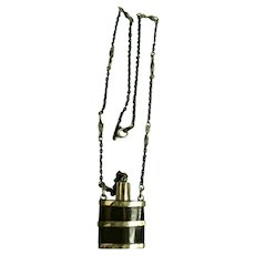 Carved Horn & Silver Poison / Snuff Bottle Pendant Necklace