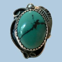 Native American Hopi Caroline Tawangyaouma Turquoise Ring Sterling Sz. 7.75