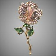 Weiss Paved Rhinestone & Enameled Open Rose Vintage Pin