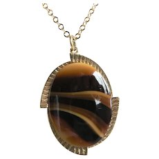 1960s Vintage Sarah Coventry Brown / Gold Banded Agate Pendant Necklace