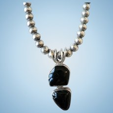 Sterling Silver & Black Onyx Pendant Beaded Necklace Signed MEXICO