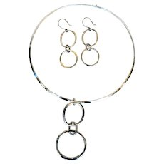 Vintage Modernist Style Sterling Silver Neckring Necklace & Earring Set