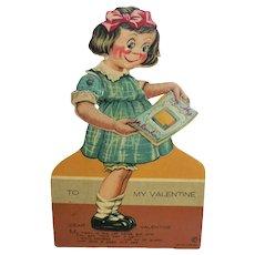 1928 German Mechanical Die-Cut Google Eye Girl Valentine Greeting Card