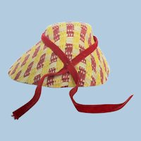 Unique & Lovely Red / Yellow / Straw Color Doll Straw Hat Bonnet