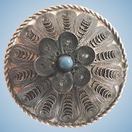 Victorian Filigree Domed Silver Pin with Persian Turquoise