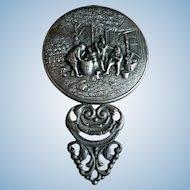 Vintage Signed Ornate Denmark Danish Silverplate Hand Mirror Pastoral Hunt Scene
