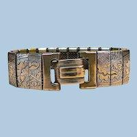 Vintage 1900-1920 Box Link Engraved Floral Sectional Gold Filled Bracelet