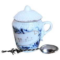 Victorian Flow Blue Germany Porcelain Mustard Pot