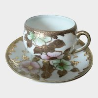 """Small Heavily Gold Gilded Cherry Blossom Pattern Porcelain Cup & Saucer """"Made In Japan"""""""