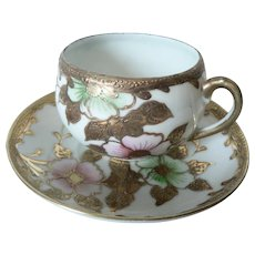 "Small Heavily Gold Gilded Cherry Blossom Pattern Porcelain Cup & Saucer ""Made In Japan"""