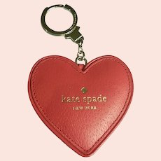New Old Stock Kate Spade Heart Key Chain Fob Red Cherry Liqueur