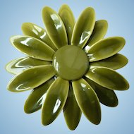 1960's Flower Power Enamel Mum Shades of Green, Layered