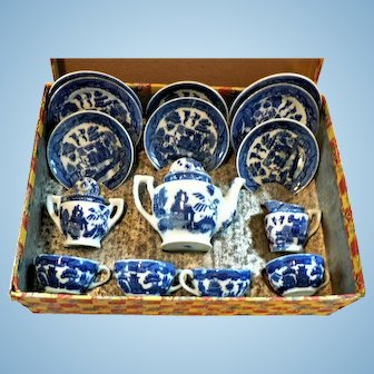 Vintage Occupied Japan Childs Blue Willow Tea Set in Org. Box
