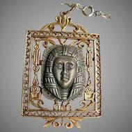 Vintage 1970's Signed Art Egyptian Revival King Tut Pharaoh Pendant Necklace Medallion