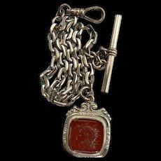 Antique Art Nouveau G.F. Pocket Watch Chain & Carnelian Roman Intaglio Fob
