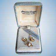 "Vintage 14K Gold Fill Heart & Pearl Necklace & Pierced Earring Set Signed ""SRL"""