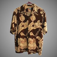 "Vintage ""JOE KEALOHA'S THE GENUINE HAWAIIAN SHIRT"" Rayon Bananas & Coconuts Aloha Shirt Size M"