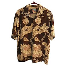 "Vintage ""JOE KEALOHA'S THE GENUINE HAWAIIAN SHIRT"" Rayon Bananas & Coconuts Aloha Shirt Size M"