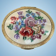 Vintage 1940's Petit Point Embroidered Flowers Powder Compact