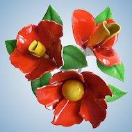 1960's Poppy Cluster Enamel Flower Power Pin Brooch