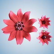 Spectacular Large Enamel Dimensional Coral Flower w/ Rhinestones Pin Brooch & Earrings Set 1960's