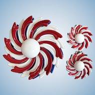 Spectacular Patriotic Enamel Dimensional Red / White / Blue Flower Pin Brooch & Earrings Set 1960's