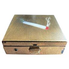Vintage 1950's - 60's Mini Portable Pocket Ashtray with Flip-Out Cigarette Holder