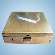 Vintage 1950's - 60's Mini Portable Pocket Ashtray with Flip-Out Cigarette Holder