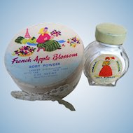 Vintage Rare Full Box & Bottle 1950's - 60's Lander Sachet Glass Bottle & French Apple Blossom Body Powder New York